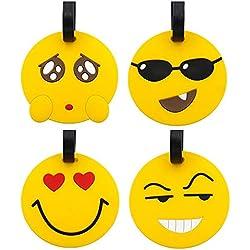 Étiquettes de bagage de voyage, porte-étiquettes d'étiquette d'identification de voyage de valise de Panda d'Emoji, porte-étiquettes d'identification de PVC pour le sac à dos (Emoji 4pc)