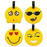 Etichette per bagaglio da viaggio, 8 pacchi Emoji Panda Valigia Etichetta identificativa per viaggio, portamonete, portamonete identificativo in PVC per bagaglio (emoji 4pc)