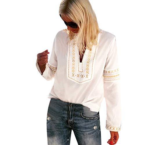 MOTOCO Damen VintageDruck Kausal T-Shirt Top(M,Weiß)
