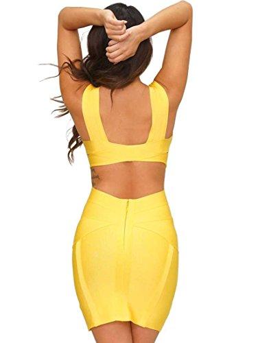 Alice & Elmer Damen Bodycon Party Celebrity Bandage Kleid Gelb