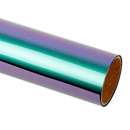 RUSPEPA 30.48 * 50Cm Allmähliche Farbverlauf Farbwechsel Wärmeübertragung Vinyl Für DIY T-Shirts (Grün Und Lila)