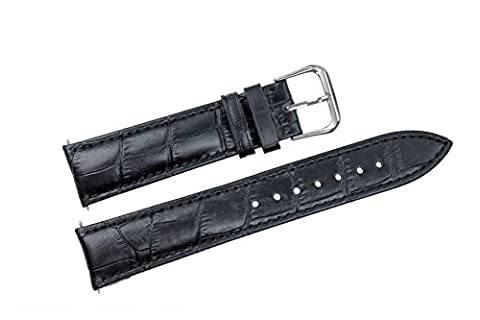 28mm Black Wide Leather Watch Straps Padded Bands Genuine Top