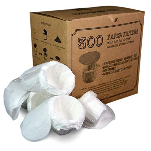 canFly Einweg-K-CUP Papierfilter mit Deckel für Keurig einziger Tasse Kästlein Filter kompatibel mit Ekobrew, EZ-Cup und anderen wiederverwendbaren K-CUP Filter Weiß 300 (Einweg-k-cup-filter)