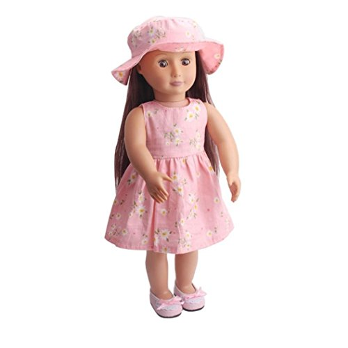 Sunward American Doll Clothes Wardrobe Makeover Dress and Hat (Fits for 18-inch)