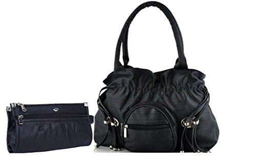 Mango Star Premium PU Leather Women's Black Handbag And Clutch Combo