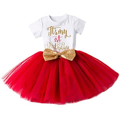 Maus Minnie Neugeborene Kostüm - Baby Mädchen Ist es Mein 1. / 2. Geburtstags Kleid Sequin Tütü Prinzessin Glitzernde Bowknot Partykleid Neugeborene Säuglings Kleinkind Fotoshooting Outfits Kostüm Rot
