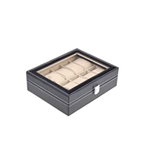 niceEshop(TM) 10 Grid Fashion Synthetic Leather Watches Display Storage Box Case Jewelry-Black