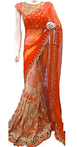 Women's Clothing Orange Net Georgette Sarees For Women Party Wear Offer Latest Designer Wedding New Collections Half & Half Saree with Embroidered Blouse  available at amazon for Rs.1598