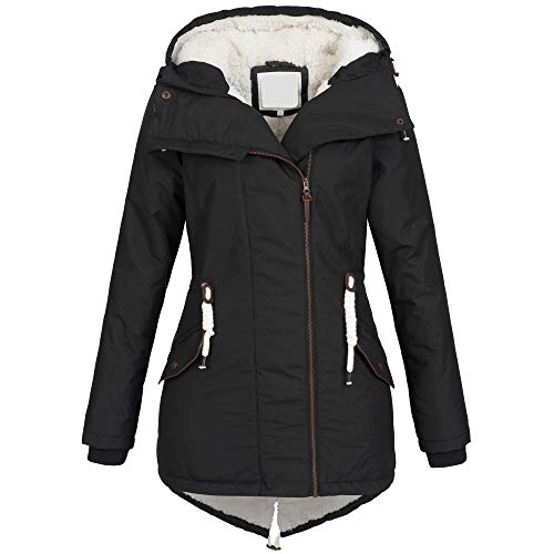 Azuonda Damen Winter Jacke Mantel Winterjacke Parka Wintermantel warm gefüttert Teddyfell Az98 XS-XXL, Größe:M, Farbe:Schwarz