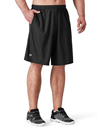 Schwarz Mesh Shorts (NAVISKIN Herren Mesh Laufshorts Ultraleicht Basketball Shorts atmungsaktiv Sportshorts schnelltrocknend Split Trainingsshorts Seitentaschen Schwarz Größe XL)
