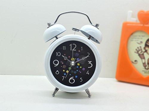 Abenily Hochwertiger Wecker Kreativer Retro- Würfel-Wecker mit Nachtlicht für Kinderkinderstudenten (weiß)