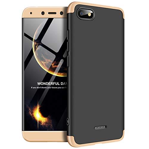 Funda Xiaomi Redmi 6 A, Carcasa la Cubierta Anti Arañazos y Anti-Choque, de Alta Dureza, Ultra - Delgado, Peso Ligero teléfono Case para Redmi 6 A (Redmi 6 A, Oro + Negro)
