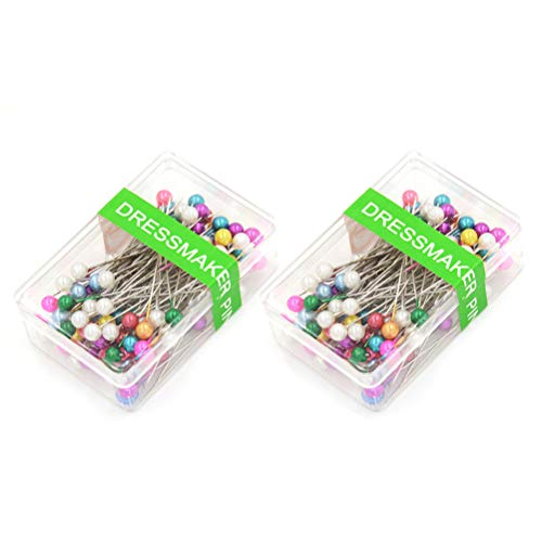 200Stück Perle Kopf Pins Schneidern gerade Pins mit Perle Kopf für DIY Dekoration Nähen, Mixed Farben (2Stück)