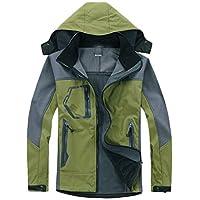 Mens Rain Jacket Waterproof with Hood Reflective Raglan Sleeve Outdoor Sports Mountaineering Coat,Green,X-Large