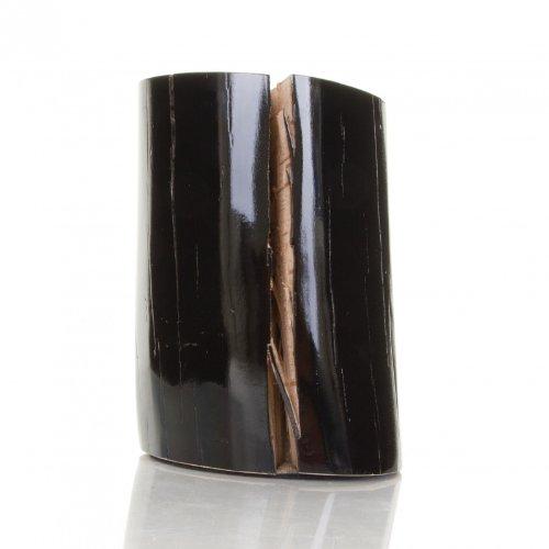 Gervasoni Log Beistelltisch, holz seiten schwarz lackiert glänzend ca. Ø18-22cm, H32cm