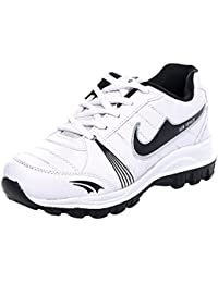 Azotic Men's White & Black Synthetic Leather Lace-Up Sport Shoes