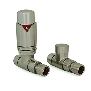 Realm Straight TRV Satin Brushed Nickel - Thermostatic Radiator Valves Set