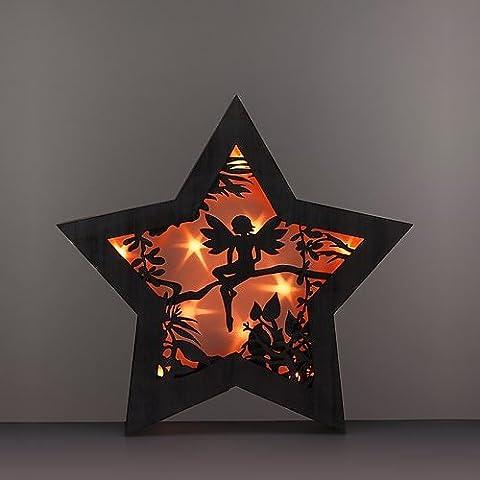 Großer Stern aus Holz mit LED Beleuchtung und einer dekorativen Schnitzerei vor einer (Große Weihnachts-elfen)