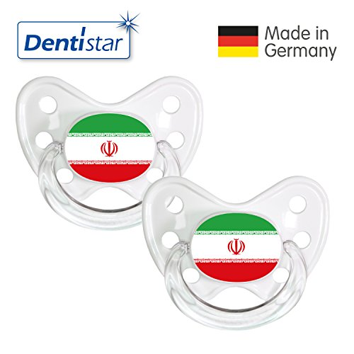 Preisvergleich Produktbild Dentistar® Silikon Schnuller 2er Set inkl. 2 Schutzkappen - Nuckel Größe 3, ab 14 Monate – Fahnen Fan Kollektion – Iran