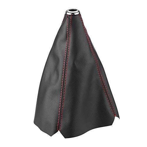Outbit Schaltknaufdeckel - 1 STÜCK Universal Bright Black PU-Leder Schaltknaufdeckel Red Stitch Gear Gamasche Boot Cover.