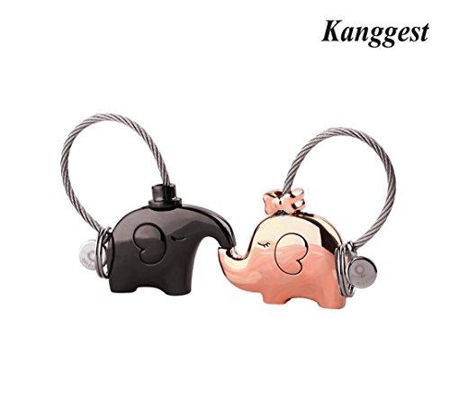 Kanggest Cadena de Clave Besos de Elefantes Pequeños Coche Llaveros Para Parejas...