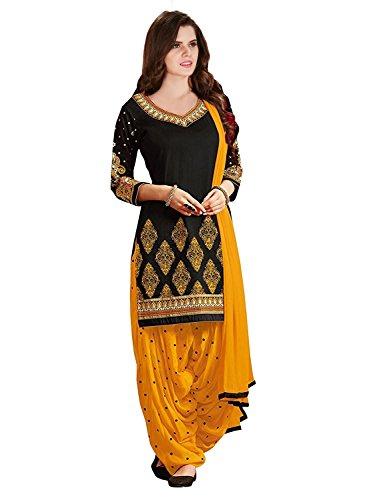 Texstile Women\'s Faux Cotton Salwar Suit (fd_Tsp-4_black_BlackFree Size)