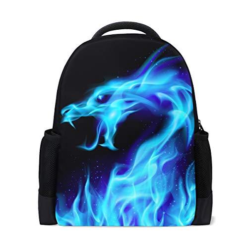8fb6e063e106 Naanle Abstract Blue Fire Flame Sparkle Dragon Head en Negro Mochila Bolso  Escolar Viaje Senderismo Camping Mochila para niños Adolescentes Niñas ...
