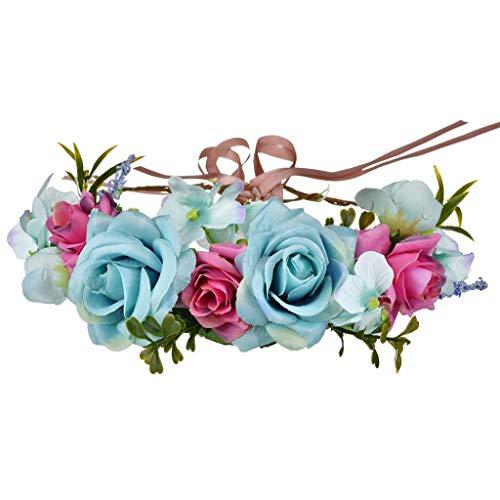 NIUZIMU Girlande Headwear Braut Kopfschmuck Girlande Hochzeit Simulation Blume Stirnband Sen Frau Küste Strand Zubehör Kranz Haarreife -0256