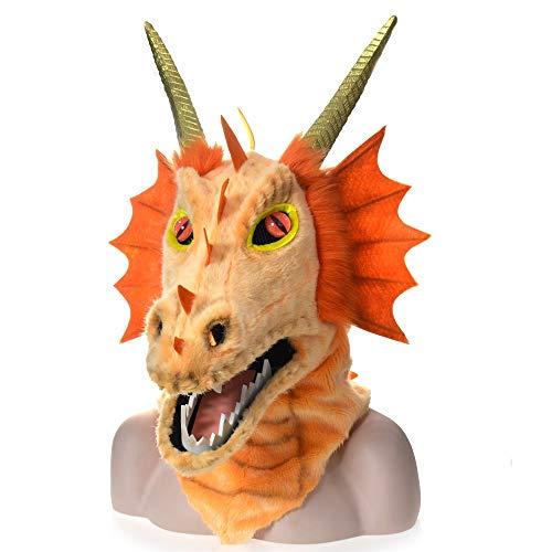 Verkauf Kostüm Für Maßgeschneiderte - Hochwertige langlebige Dress Up Maske Heißer verkauf cosplay benutzerdefinierte tiere maske pelzigen handgefertigten maßgeschneiderte halloween bewegen mund maske orange drachen simulation tier eigent