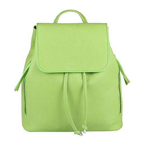 OBC Made IN Italy Damen Echt Leder Rucksack Cityrucksack Lederrucksack Tasche Schultertasche Ledertasche Stadtrucksack Handtasche Daypacks Backpack Altrosa