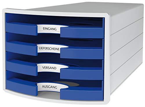 HAN Schubladenbox IMPULS 1013-14 in lichtgrau/blau Stapelbare Sortierablage mit 4 großen, offenen Schubladen für DIN A4/C4/ inkl. Beschriftungsschilder