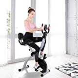 Hadwin F Bike Folding Exercise Bike Exercise Machine Fitness Cardio Workout with Adjustable Seat Height, Desktop, 8 Level Mag