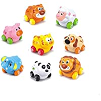 TOYMYTOY 8 pcs Baby Toddlers Push and Go Toy Cars Friction Powered Cartoon Animals Toy Cars Play Set