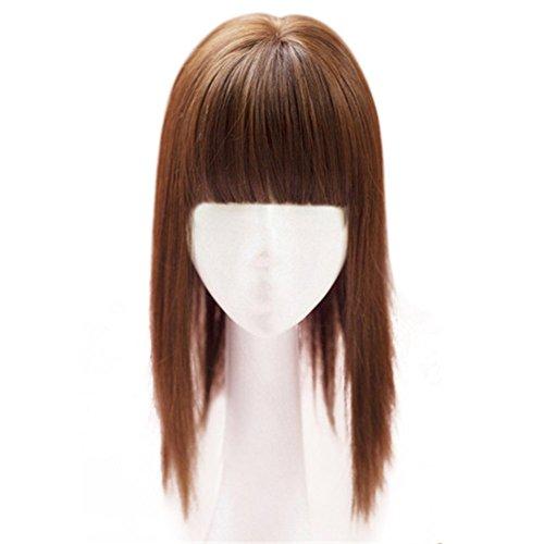 Kunsthaar  von Remeehi, 35cm, nahtloser Haarersatz, Mono-Toupet für Haarausfall, Clip in Haar, Topper mit flachem Pony Mono Clip