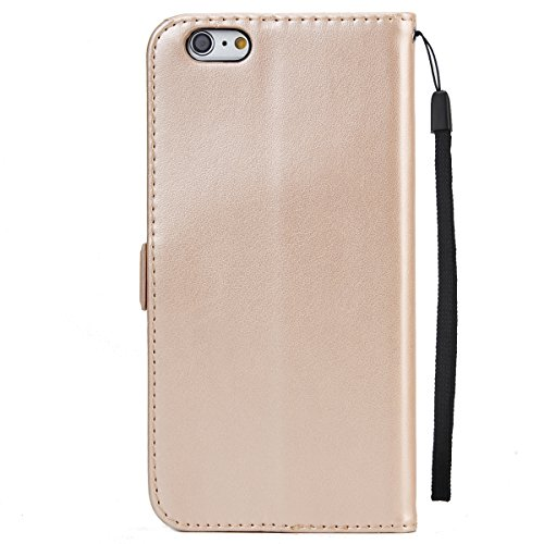 iPhone 6S Plus Étui,JAWSEU iPhone 6 Plus/6S Plus 5.5 Coque en Cuir Portefeuille Housse Luxe Mode Wallet Pu Case iPhone 6 Plus Etui à Rabat Magnétique Housse Etui de Protection Folio Bookstyle Case élé or/luxe