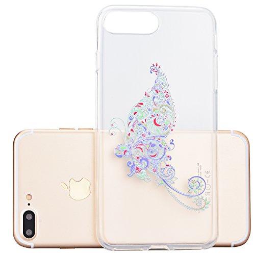 Für iPhone 7 Plus Cover, Yokata Transparent Motiv TPU Vintage Soft Case mit Weich Silikon Bumper Crystal Clear Schutzhülle Durchsichtig Extrem Dünne Case Hülle - Orchidee Big Schmetterling