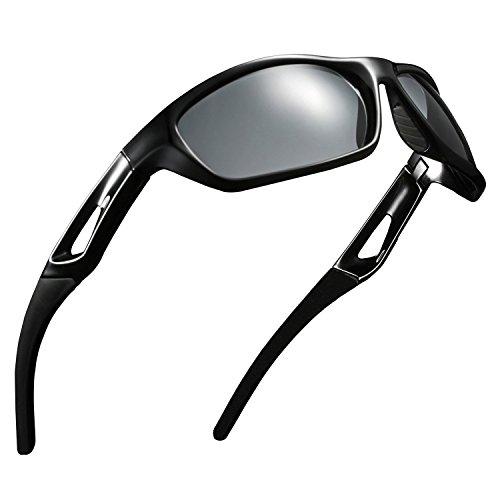 Occhiali da sole polarizzati occhiali sportivi da guida occhiali da sole per uomo donna per ciclismo occhiali da sole da trekking baseball (black)