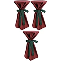 Sensalux, 3 Stehtischüberwürfe (nicht genäht) abwischbar - (Farbe nach Wahl), Überwurf bordeaux Schleifenband grün, Tischdurchmesser 60-70 cm, die preisgünstige Alternative zur Husse