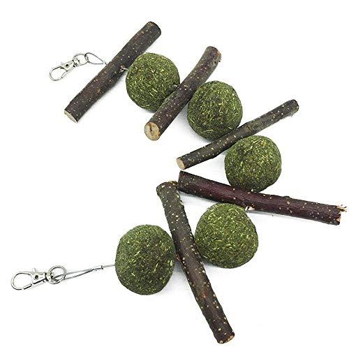 Chew Sticks Spielzeug, Bio Apple Wood Sticks Äste mit Gras Bälle, Pet Snacks Backenzähne Kauen Sticks für Frettchen Papagei Chinchilla Meerschweinchen Kaninchen Hase ()