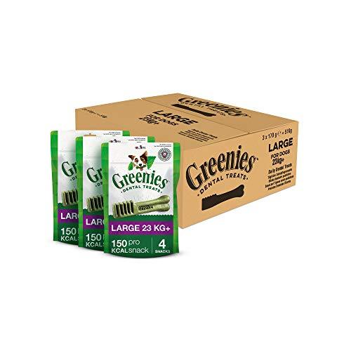 Greenies Large tägliche Zahnpflegesnacks, (3 x 170 g) 12 Kausnacks für Hunde von 23 kg+