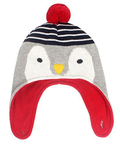 Für Happy Kostüm Pinguin Erwachsene - Happy Cherry Baby Mütze Kinder Junge Winter Herbst Fliegermütze Kleinkinder Tier Strickmütze Kids Pinguin Wintermützen Tier Figur Kindermütze Bommelnmütze Winter Schnee Hut L für 2-4 Jahre