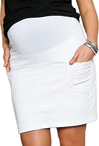 Mija - jupe de grossesse et de maternité Denim Jeans décontractée 9060 Blanc