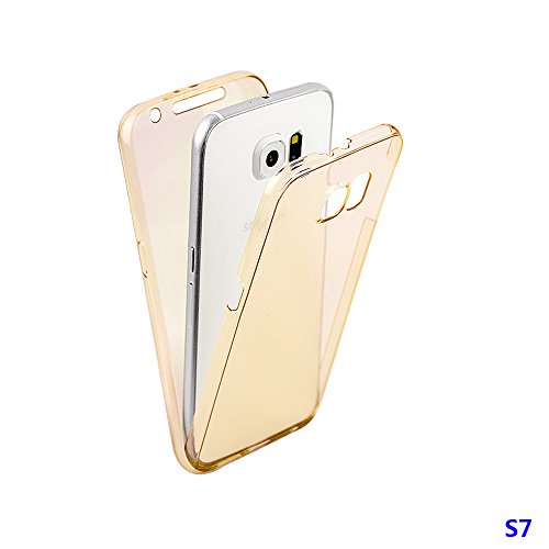 xhorizon MW8 Schlank Schlagfest 360 Grad Vorne und Rückseite Shockproof Schutzhülle TPU Transparent Case Cover für Samsung Samsung Galaxy S7 G9300 Golden