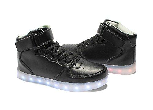 Turnschuhe Led Aufladen erwachsene Schwarz 7 Leuchtend Schuhe Usb Unisex Damen Kinder Sportschuhe Sneaker Für Herren Farbe Sport qAfwBz