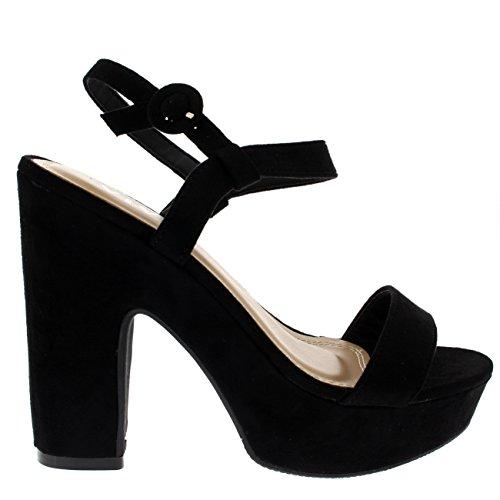 Donna Moda Cinghiapy Tallone Di Blocco Piattaforma Aprire Il Piede Sandali Alto Tacchi Nero