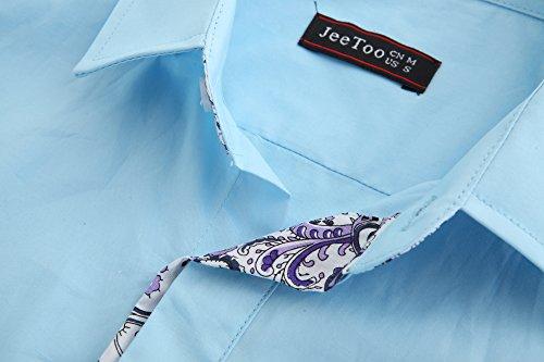 JEETOO Herren Freizeit Slim Fit Abeitehemd super Qualität Shirt Bügelleicht Tops für Männer Blau