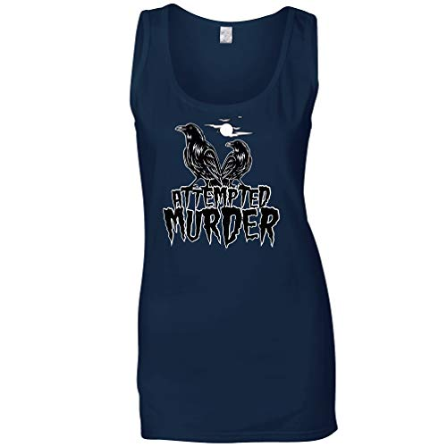 Tim And Ted Halloween Sommerweste Mordversuch Crow Pun Navy Blue XX-Large