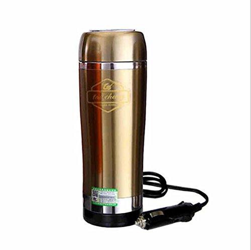 XIAOYA 12V Auto Heizbecher Reisebecher Thermosgefäße Kaffeetassen Campingküche 350Ml,Gold