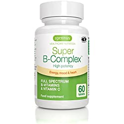 Super B-Komplex –Vitamin B Komplex mit hoher Absorption, Folat, Vitaminen B6 & B12, sowie Vitamin C, 60 Tabletten, Vegan