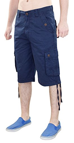 New Mens 100% cotone Combat bottone Cargo Pocket lavoro zip pantaloncini Casual Pants Navy